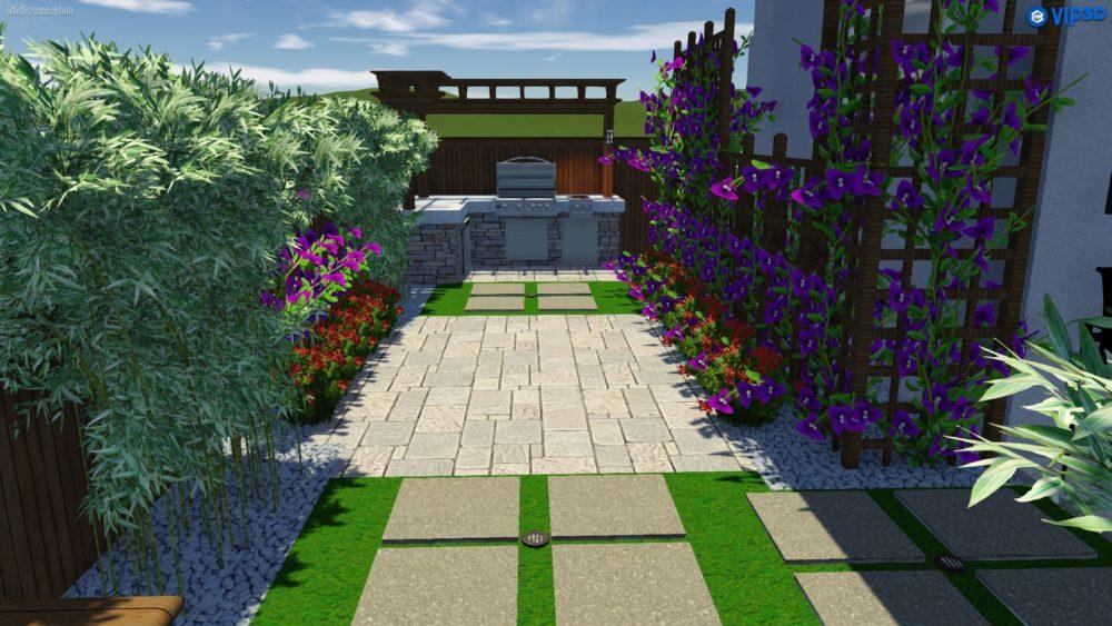 Outdoor kitchen and garden backyard landscape design