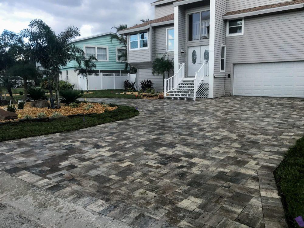 Driveway concrete pavers grey