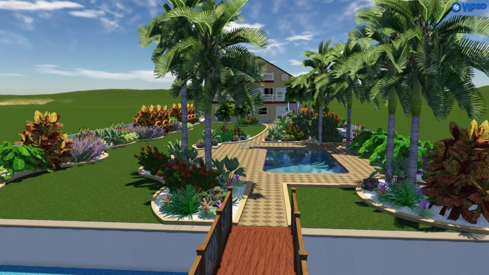 Travertine Path Garden and Pool