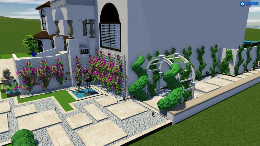 Front yard paver pathway and fountain design